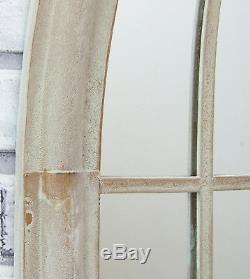 Lewis Antique Sandy Metal Garden Outdoor Arched Window Wall Mirror 154cm x 60cm