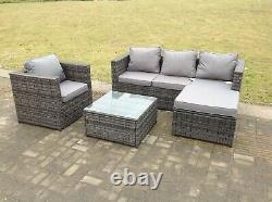 Lounge rattan sofa coffee table set outdoor garden furniture patio grey