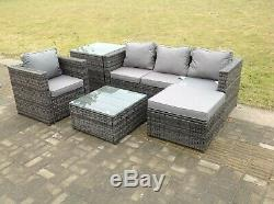 Lounge rattan sofa set with 2 table stool outdoor garden furniture patio grey