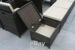 Luxury Cube Rattan Dining Set Garden Furniture Patio Conservatory Wicker Outdoor