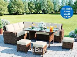 Luxury Garden Rattan Weave Furniture 9 Seater Dining Outdoor Table Sofa Set