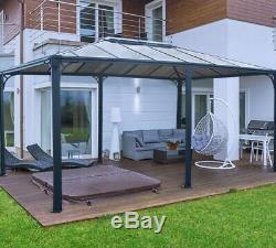 Martinique Gazebo Permanent Outdoor Garden Canopy In Grey