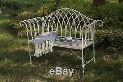 Metal Garden Bench Patio Seat Furniture Antique Foldable Vintage Outdoor