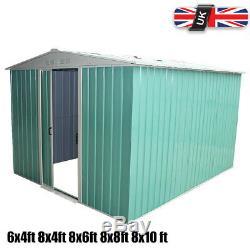 Metal Garden Shed Outdoor Storage House Apex Roof Sliding Door 8x4 8x6 8x8 8x10