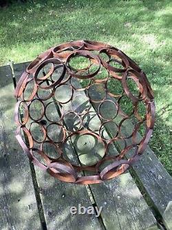 Metal Rusty Garden Modern Art Decorative Open Sphere Ornament Steel Ball
