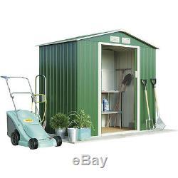 Metal Shed Garden Storage 7x4' 7x6 Sliding Double Doors Apex Roof Green Waltons