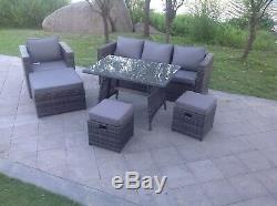 Mixed grey rattan sofa dining set table ottoman outdoor garden furniture