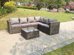 Modular 6 seater rattan corner sofa set coffee table outdoor garden furniture