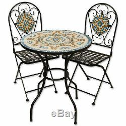 Mosaic Outdoor Garden Table And Folding Chair Set Blue