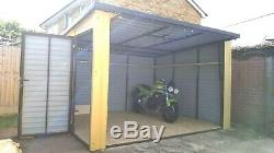 Motorcycle Secure Garage 12x10ft Bike Shed Motorbike Garden Workshop Storage