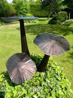 Mushroom Toadstool Garden Ornament Set of 3 Flat Mushrooms 20/30/40cm Bronze
