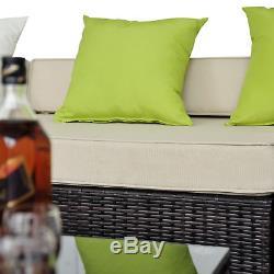 New 6pc Rattan Furniture Wicker Conservatory Garden Patio Corner Sofa Set Home