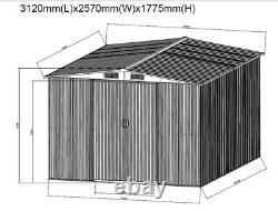 New Metal Garden Shed Apex Roof 10x8FT Storage House Tool Sheds with Free Base
