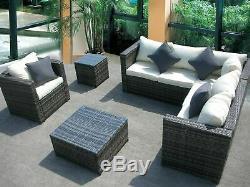 New Rattan Wicker Conservatory Outdoor Garden Furniture Set Corner Sofa Table