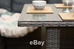 Nova' Brown / Grey Rattan Corner Sofa Outdoor Garden Furniture Dining Table Set