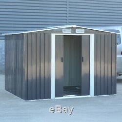 Outdoor Garden 6 x 8 Metal Shed Tool Storage with Sliding Door and Steel Base UK
