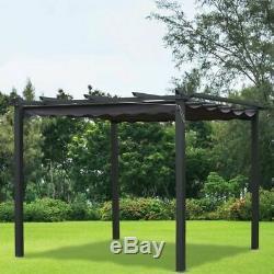 Outdoor Garden Gazebos 3m x 3m Charcoal Pergola Summer Gazebo Shelter