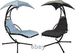 Outdoor Garden Helicopter Hanging Swing Hammock Lounger Egg Chair Sun Blue/Grey