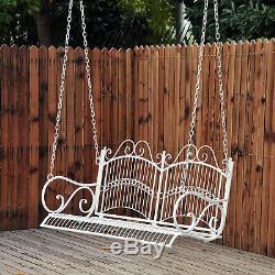 Outdoor Garden Solid Metal 2 Seat Swing Chair Love Seat Hanging Hammock White