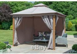 Outdoor Gazebo Shelter Garden Canopy Tent Aluminium Frame Wooden Look, LED Light