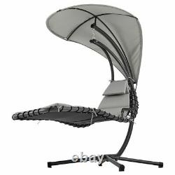 Outdoor Hanging Lounger Sun Hammock Chair Garden Swing with Arc Stand & Canopy