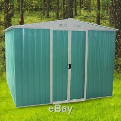 Outdoor Heavy Duty 8X6 Metal Garden Shed Apex Roof Storage with Free Foundation