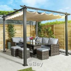 Outdoor Luxury Slide Away Sun Shade And Metal Gazebo Pergola Garden Furniture
