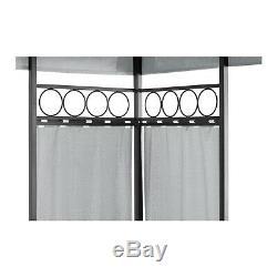 Outdoor Metal Patio Gazebo Square Garden Shade Ornamented 160g/m² 3x3m Dark Grey