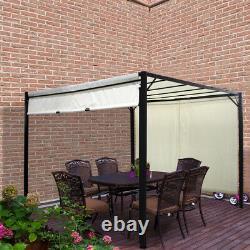 Outdoor Steel Pergola Retractable Sun Shade Awning Gazebo Canopy Garden Pavilion