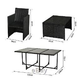 Outsunny 11pc Patio Furniture Rattan Dining Set Garden Wicker Table Chairs Seat