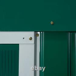 Outsunny 13 X 11ft Garden Storage Shed with2 Doors Galvanised Metal Green