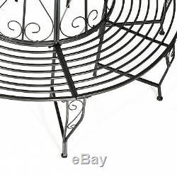 Outsunny 160cm Garden Round Tree Bench Outdoor Chair Metal Patio Circular Seat