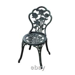 Outsunny 3 PCs Bistro Set Cast Aluminium Garden Balcony Table 2 Chairs