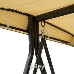 Outsunny 3 Seater Swing Chair Outdoor Metal Bench Garden Hammock Canopy Lounger