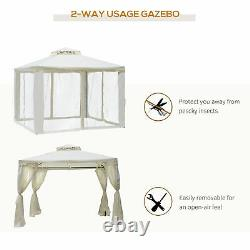 Outsunny 3 x 3m Metal Gazebo Garden Outdoor 2-Tier Roof Marquee Party Tent White