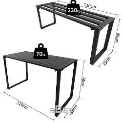 Outsunny 3Pcs Outdoor Dining Set Metal Beer Table Bench Patio Garden Yard