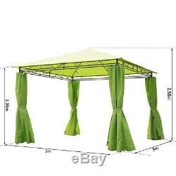 Outsunny 3x3m Garden Metal Gazebo Marquee Patio Party Tent Canopy Shelter
