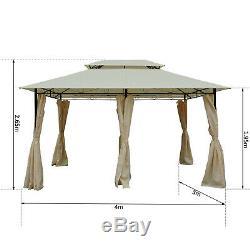 Outsunny 4 x 3m Garden Metal Gazebo Canopy Party Tent Patio Shelter Pavilion
