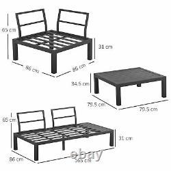 Outsunny 4PC Aluminium Garden Corner Sofa Set Coffee Table Padded Furniture