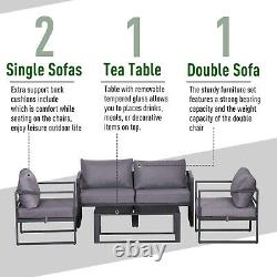 Outsunny 4pcs Garden Sectional Sofa Set Table Furniture Aluminum with Cushion