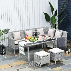 Outsunny 5Pcs Rattan Dining Set with Sofa, Coffee Table Footstool Garden Furniture