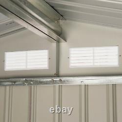 Outsunny 7 x 4FT Outdoor Storage Garden Shed with2 Door Galvanised Metal Grey