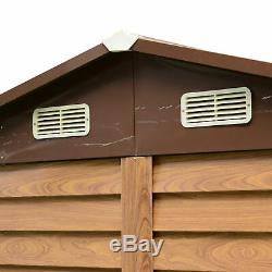 Outsunny 8 x 6FT Metal Garden Shed Wood Effect Woodgrain Storage Unit Tool Box