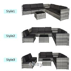 Outsunny 8Pcs Patio Rattan Sofa Garden Furniture Set Table with Cushions 6 Seater