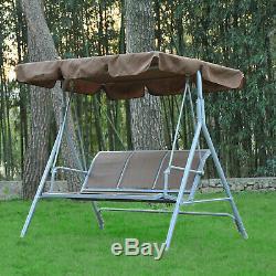 Outsunny Garden 3 Seater Metal Swing Chair Hammock Canopy Oustdoor Swinging Seat
