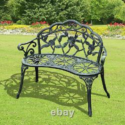 Outsunny Garden Furniture Bench Patio Chair Deck Cast Aluminum Metal Love Seat