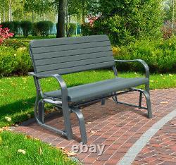 Outsunny Garden Outdoor 2-Seat Metal Garden Patio Bench Love Seat Green