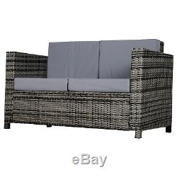 Outsunny Garden Rattan 2 Seater Sofa Chair All-Weather Wicker Weave Chair Grey