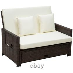 Outsunny Garden Rattan Furniture 2 Seater Patio Sun Lounger Daybed Sunbed