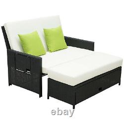 Outsunny Garden Rattan Furniture Set 2 Seater Patio Sun Lounger Daybed Sun Bed